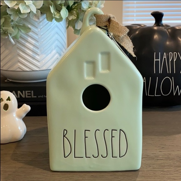 """Rae Dunn """"Blessed"""" Bird House in Sage Green"""